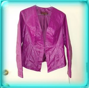 Hal Rubenstein fucshia leather ostrich jacket coat